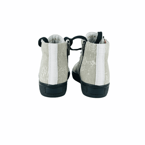 Off White & Grey BAROCCATO with Coco leather RYC & RICH-YCLED Handmade Shoes From Italy 285€