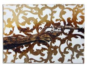 2_-pistolero_7x10-goldleaf-gunpowder-and-grapite-on-paper