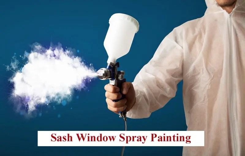 An image of a man using a spray gun. The man is wearing protective clothing and atomized whit paint is shooting out of the nozzle of the spray gun.