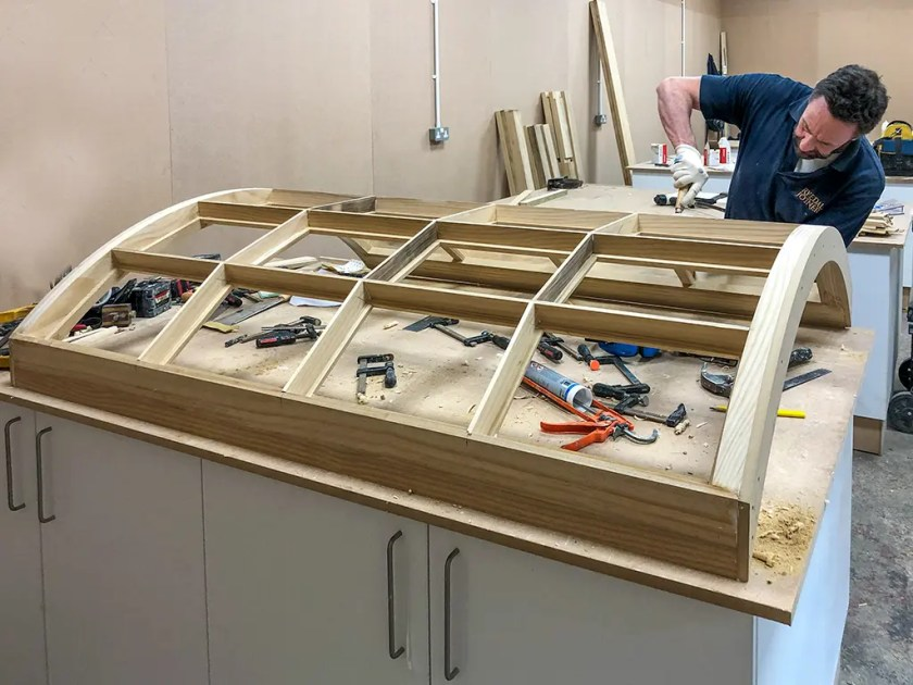 A Georgian Bow Window being manufactured by a qualified tradesman in the Ryedale Joinery workshop at Kirby Misperton.