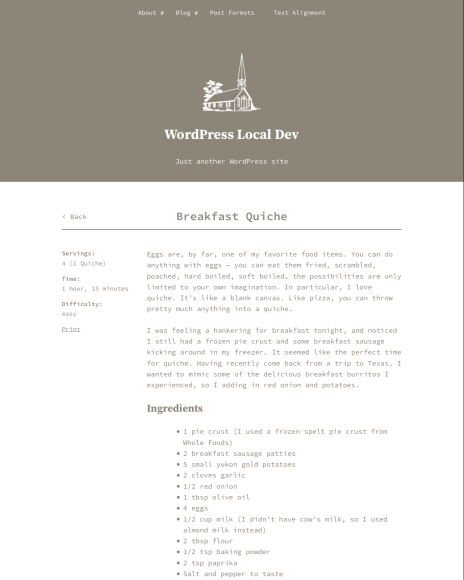 A single recipe page shows the recipe meta from the (Jetpack) shortcode in the left column.