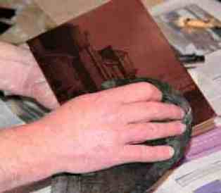 What is etching? Wiping the inked copper plate with scrim