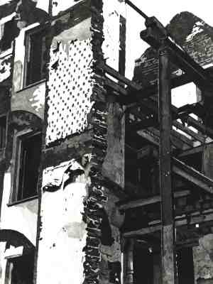 DEMOLITION - The skeleton of a building being demolished in Covent Garden in London in the 1980s Limited edition etching by Colin Bailey  Click here to see larger more detailed image and view purchasing options