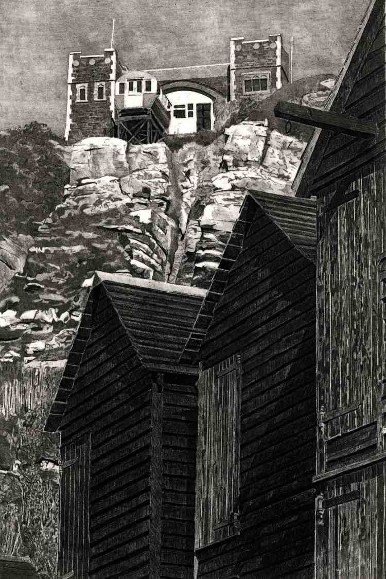 NETHUTS AND FUNICULAR - Hastings East Hill funicular railway, seen from the net huts on the Stade Limited edition etching