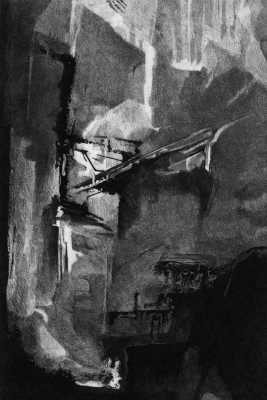 WEAPONS OF MASS CONSTRUCTION - Abstract etching, with an ominous feeling of construction at an unspecified scale. Limited edition etching by Colin Bailey  Click here to see larger more detailed image and view purchasing options