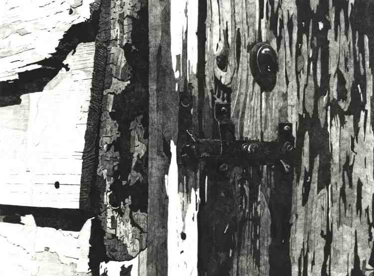 WEATHERED DOORWAY, RYE - Detailed etching of the splintered and weather beaten wooden doorway on the Strand Quay in Rye. Limited edition etching print by Colin Bailey