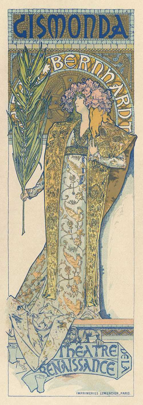 Printmaking: lithography Alphonse Mucha -Poster of Sarah Bernhardt as Gismonda (1895)