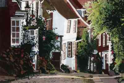 DOWN MERMAID STREET, RYE View past the Mermaid Inn down Rye's famous cobbled street..  Limited edition hand-coloured etching print