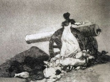 What is etching? Aquatint by Goya showing grainy effect in the print caused by the acid biting round the resin particles on the plate