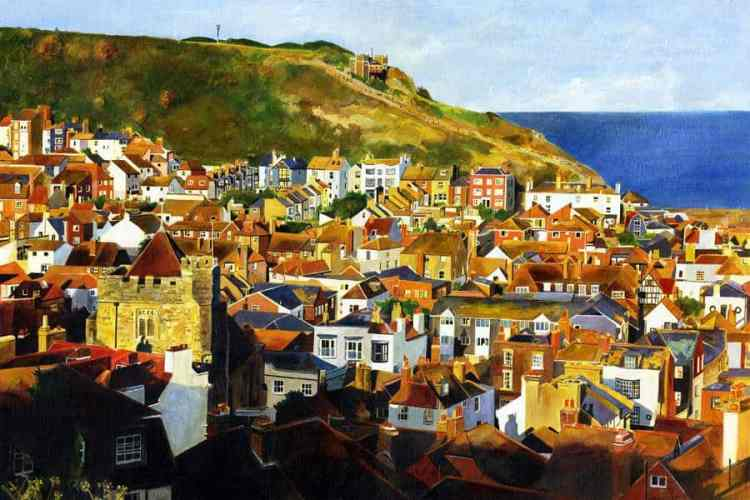 EAST HILL SUN - Late afternoon sunshine casts long shadows across the Old Town, and lights up the East Hill with its funicular railway -  Giclee print by Colin Bailey