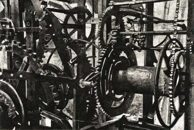 CALLING TIME - The Piranesi-esque mechanism of the clock in the tower of St Mary's in Rye -Limited edition etching by Colin Bailey