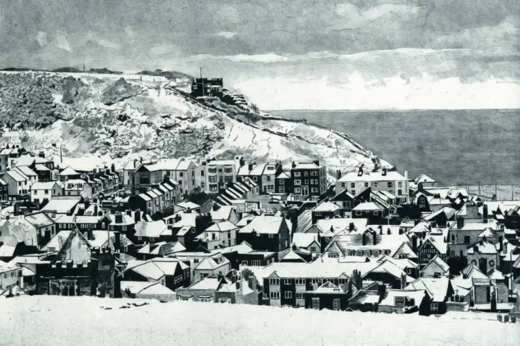 EAST HILL SNOW - Snow covering the roofs of the Old Town, Hastings looking toward the East Hill with its funicular railwayar railways