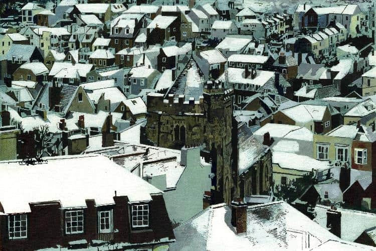 OLD TOWN ROOFS, SNOW - Snow on the roof of St Clement's and the houses of Hastings, East Sussex