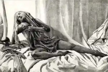 SALOME ALONE Draped and veiled nude female figure limited edition etching.  Click here to see larger more detailed image and view purchasing options