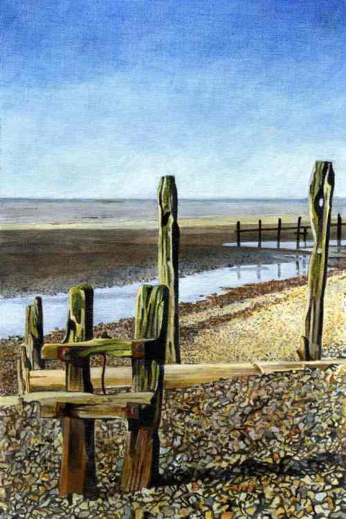 FAMILY SEASIDE OUTING Two tall groynes stand proudly as their playful youngsters explore the shore line! of Winchelsea Beach!