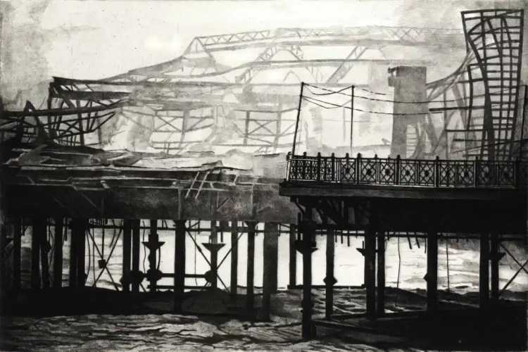 SMOKE ON THE WATER Hastings pier continues to smoulder, wreathed in smoke the morning after the fire in October 2010.Limited edition etching by Colin Bailey