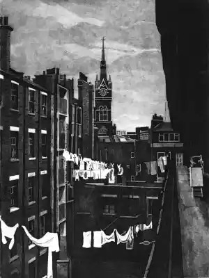 END OF THE LINE - St Pancras station clock tower rises above washing hanging out to dry on washing lines strung across the courtyard of Midhope House on the Hillview estate in Kings Cross in the 1980s. Limited edition St Pancras station etching print by Colin Bailey