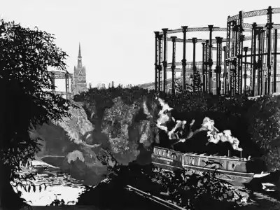 ST PANCRAS FROM THE REGENTS CANAL - Breakfast smoke rises from a barge moored on the Regents Canal, behind Kings Cross. St Pancras station's famous clock tower rises hazily in the distance. Limited edition etching print by Colin Bailey