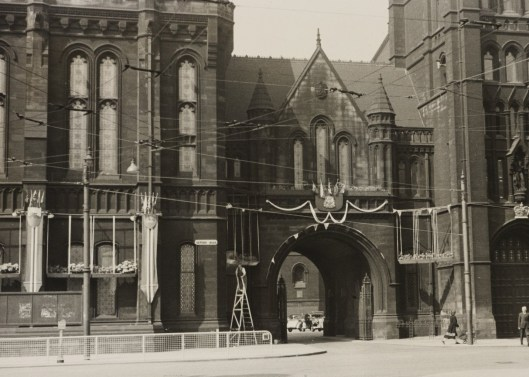 The University of Manchester's buildings decorated for the Coronation of 1953.