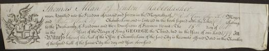 Certificate of Thomas Allan's Admittance as a Freeman of the Worshipful Company of Haberdashers, London, 15 October 1799. MAW MS 1/12.