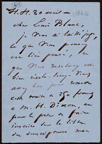 Letter from Victor Hugo to Louis Blanc, offering a subscription of 250 francs towards the Shakespeare monument.