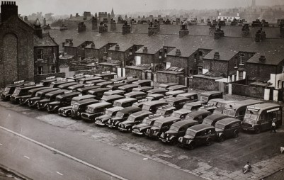 Broughton garage in Salford, 1955-56.