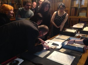 Students and Proust's Hair, Working with Archives, 4th. March 2016