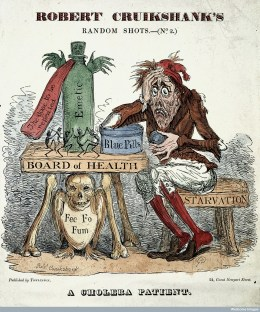L0003051 A cholera patient experimenting with remedies. Coloured Credit: Wellcome Library, London. Wellcome Images images@wellcome.ac.uk http://wellcomeimages.org 'A cholera patient', caricature of a cholera patient experimenting with remedies (Robert Cruikshank's random shots No. 2) Coloured etching 1832 By: Robert CruikshankPublished: [1832?] Copyrighted work available under Creative Commons Attribution only licence CC BY 4.0 http://creativecommons.org/licenses/by/4.0/
