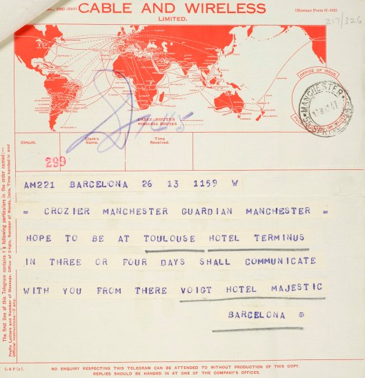 In this telegram of 13 May 1937, Voigt announces that he is leaving Barcelona for Toulouse. Crozier responded to this with a note expressing his relief that his correspondent was well.
