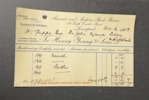 Invoice detailing 'Luther' items bought by Henry Guppy from booksellers in December 1909.