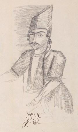 Pencil sketch of a Persian man