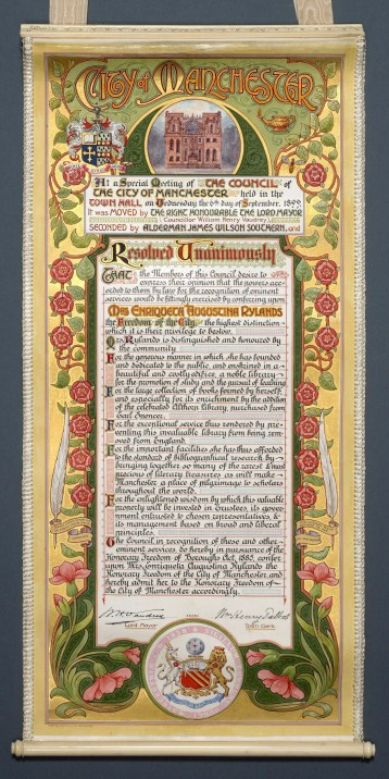 Scroll awarding the Freedom of the City of Manchester to Enriqueta Rylands, 1899.