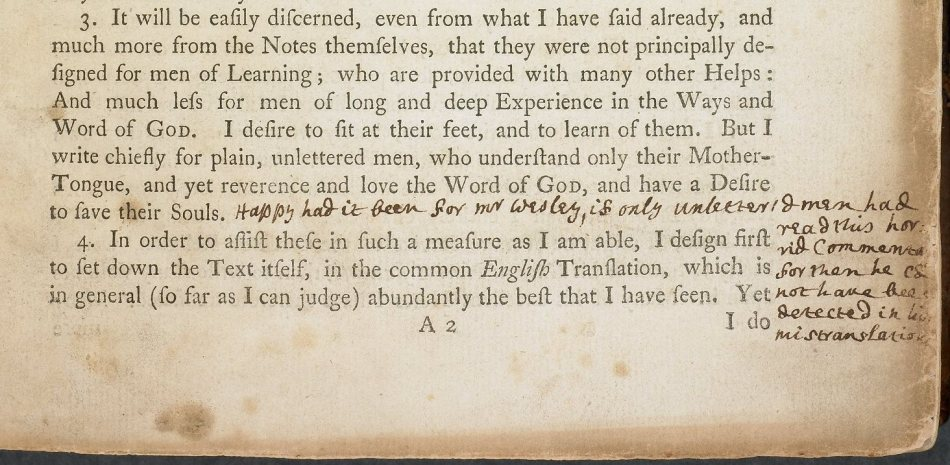 Toplady's annotations in Wesley's Preface of his Explanatory Notes on the New Testament.