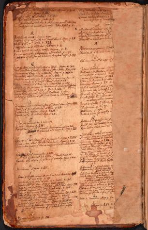 An image of the handwritten index which note important pages within the book. This is partially obscured by later repair work.