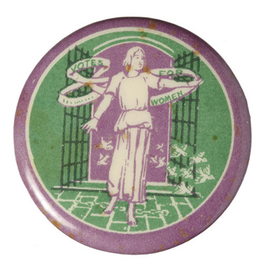Tin badge with a logo designed by Sylvia Pankhurst.