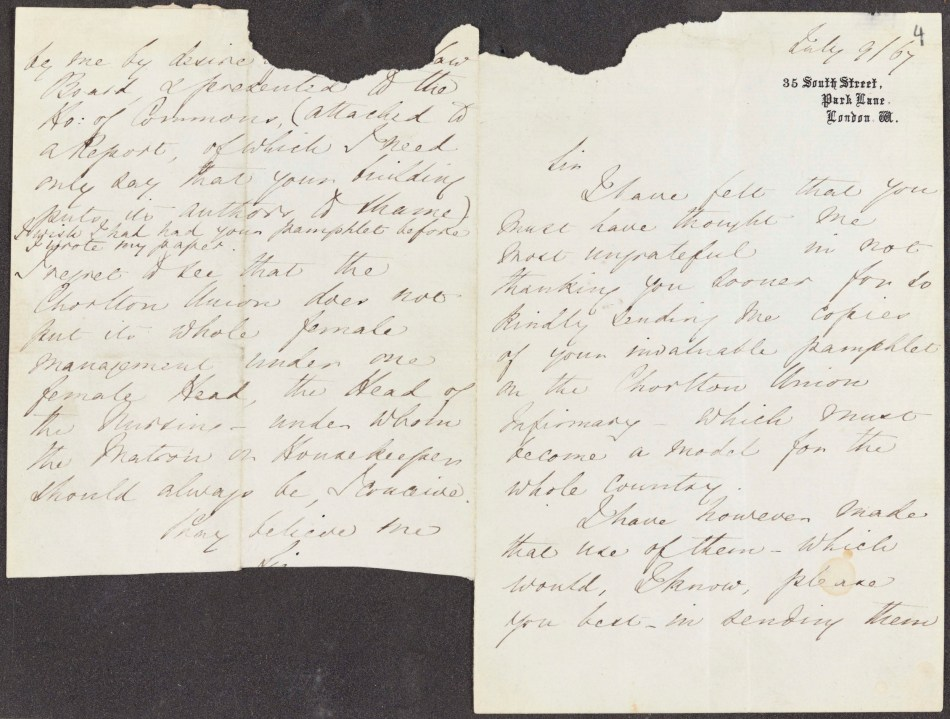English MS 1154/4. Florence Nightingale Letters to Thomas Worthington. 9 Jul 1867.