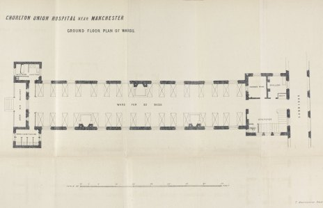 Plan of Chorlton Union Hospital, from Transactions of the Manchester Statistical Society, 1867.