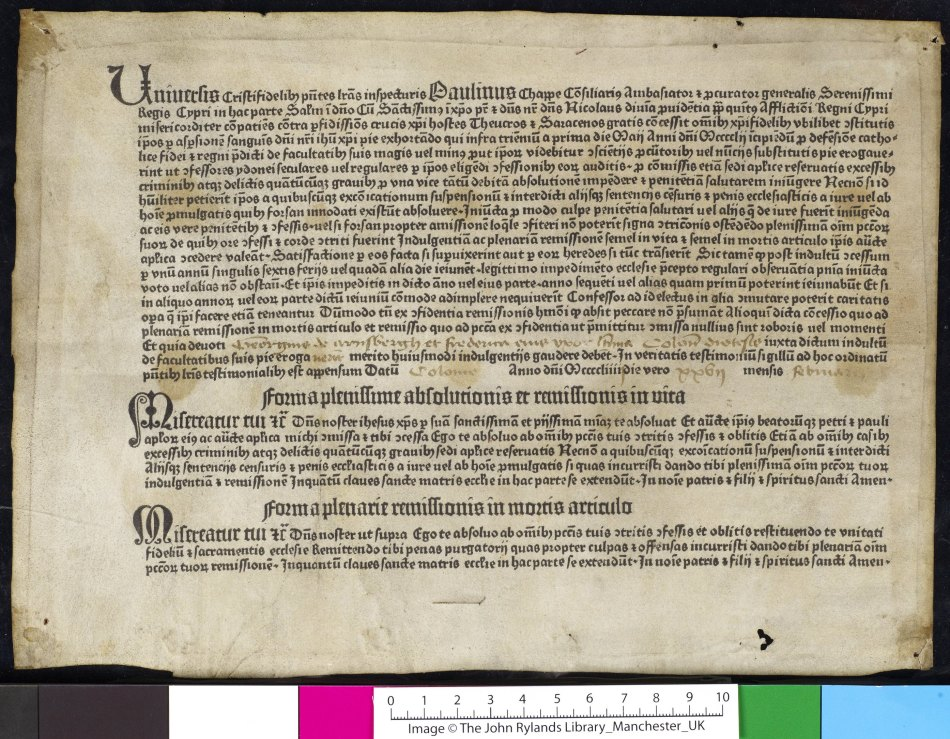 Printed parchment indulgence that was reused as printers waste