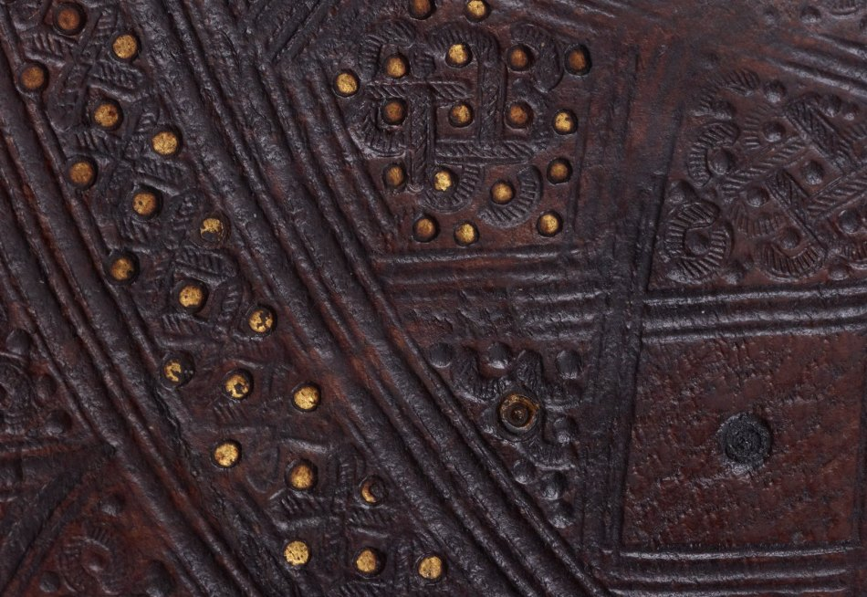 Upclose detail of leather tooling