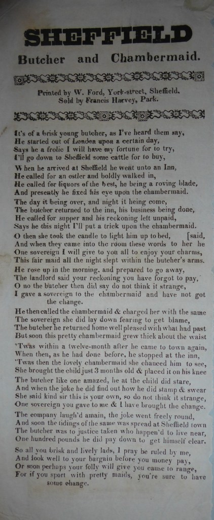 Ballad printed by William Ford of Sheffield. Sold by Francis Harvey, Park. Ten verses of four lines in one column.