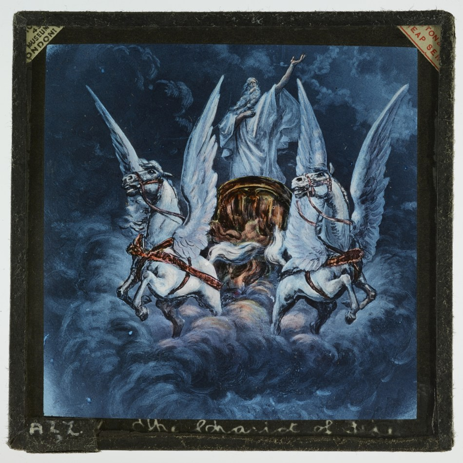 A Biblical magic lantern slide of the type used by Livingstone in his missionary activities. The slide depicts the Chariot of Fire and its winged horses carrying the Prophet Elijah to Heaven.