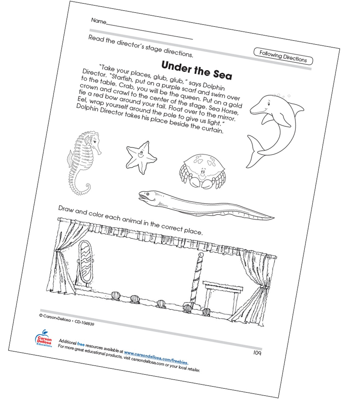 30 Follow Directions Coloring Worksheet
