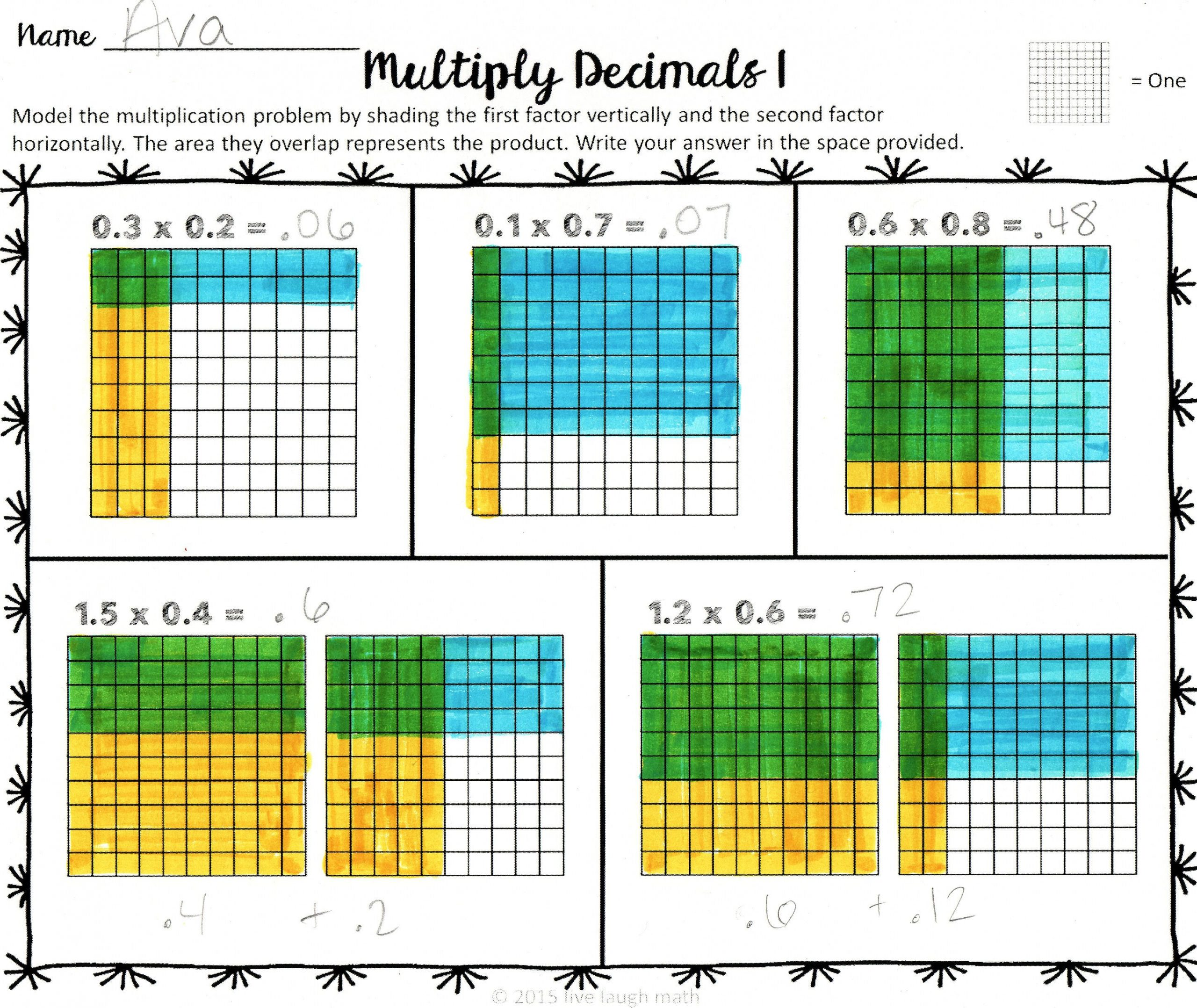 30 Multiplying Decimals With Grids Worksheets