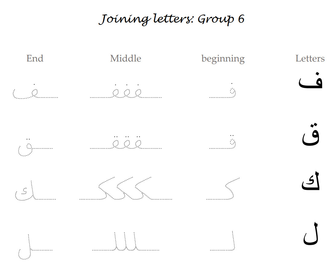 30 Connecting Arabic Letters Worksheet
