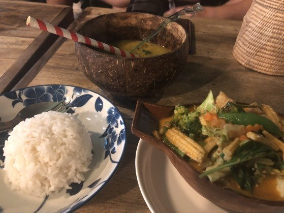Penang curry, rice, cocktail!