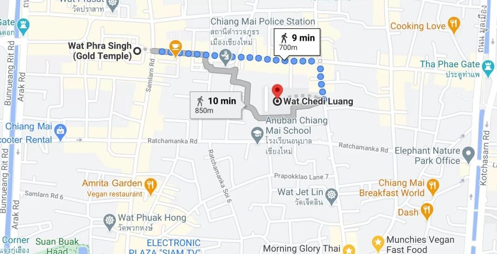 Google Maps Wat Phra Singh To Wat Chedi Luang