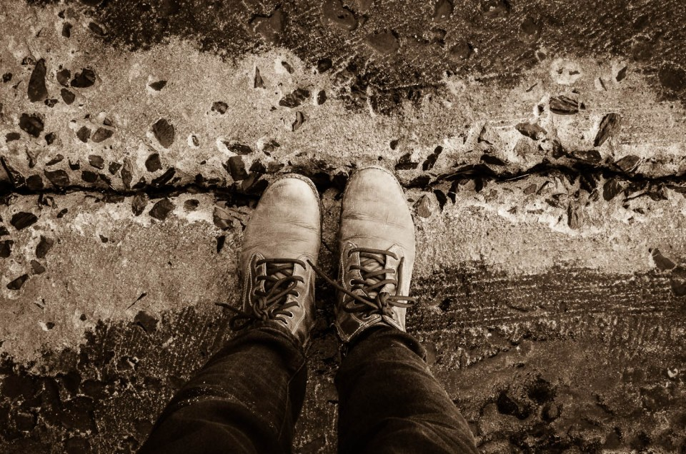 Boots standing on concrete