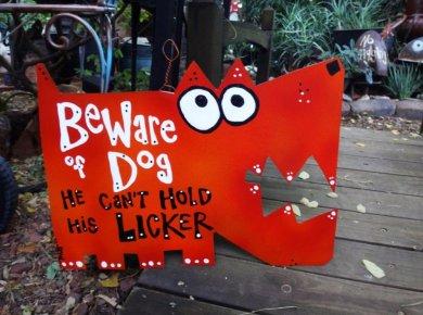 dog hold licker sign