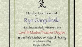 ryn gargulinski reiki master certification