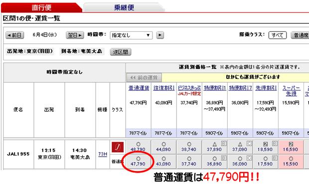 JALの羽田→奄美大島運賃